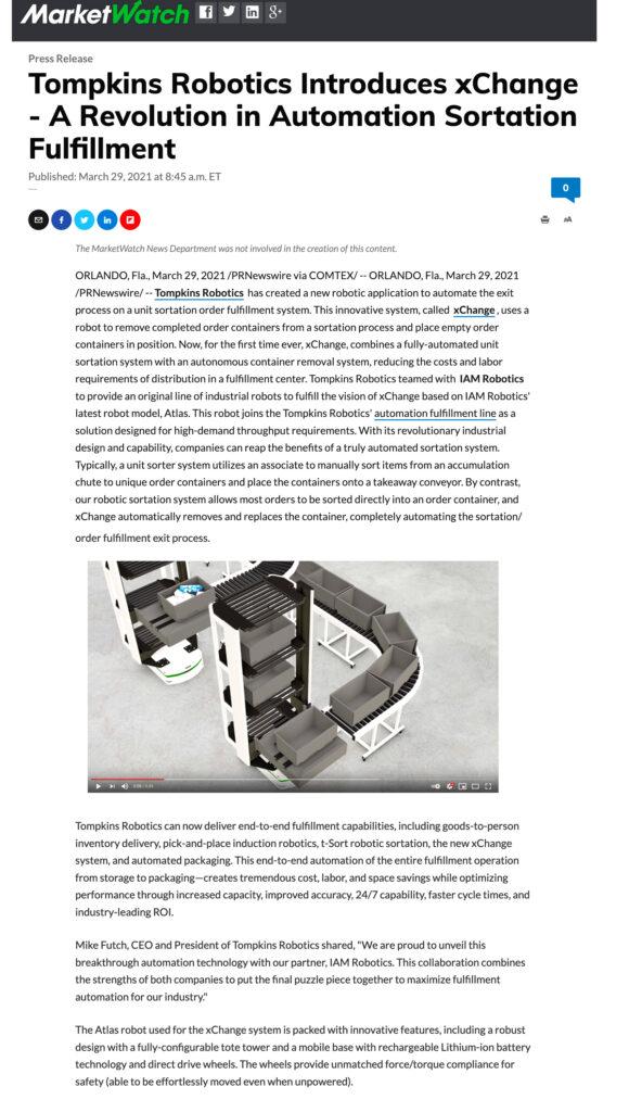 Tompkins Robotics xChange Press Release